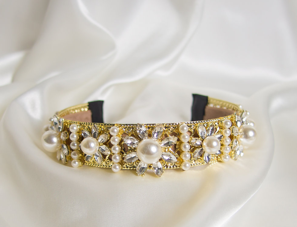 Isabella Embellished Crown Headband In Gold