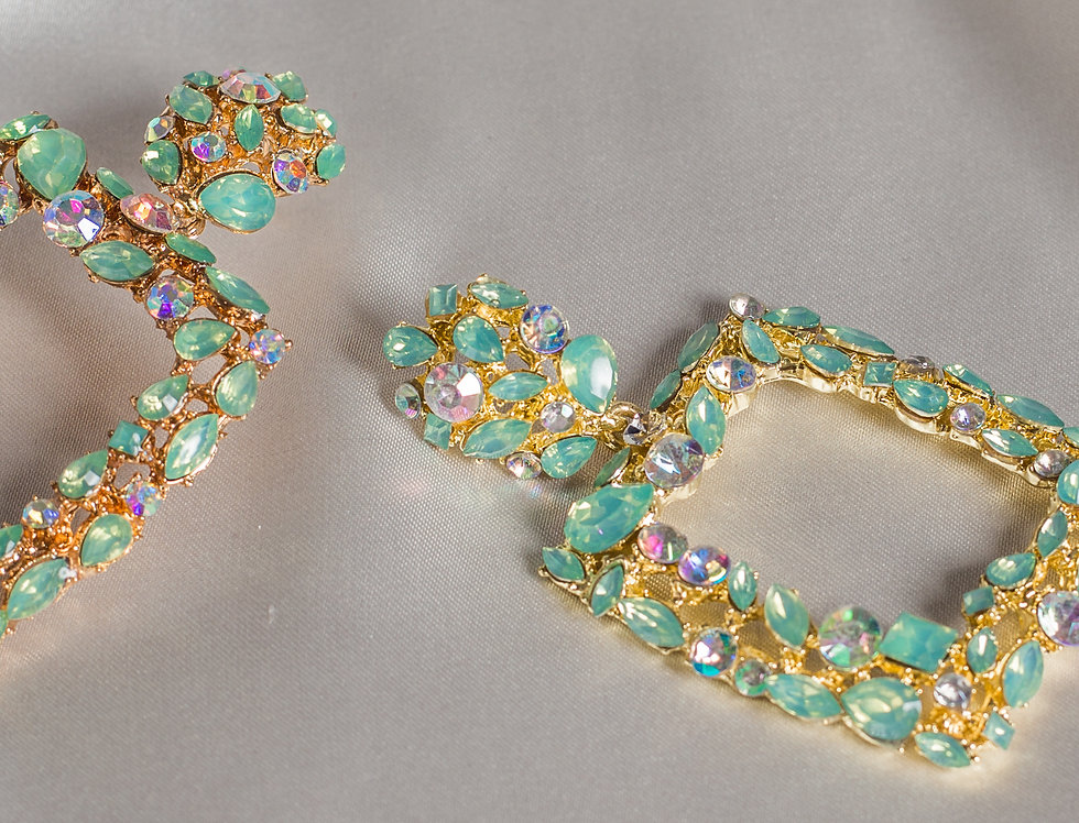 Crystal Cleo Earrings in Turquoise Diamond