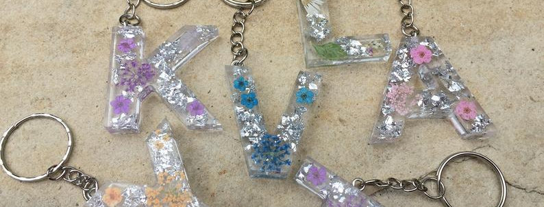 Design Your Own Personalised Letter Keyring, A-Z, Flower and Silver Foil Design