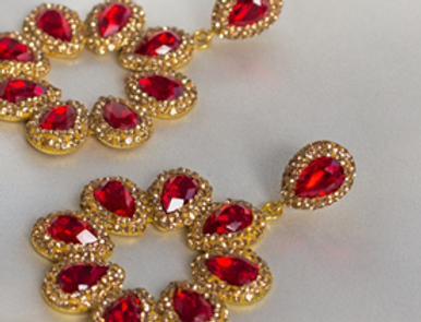 Ruby Red & Gold Halo Earrings