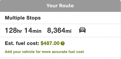 Hours, miles, and the cost of fuel to get there.