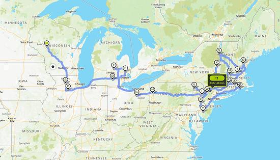 Journey across 41 states