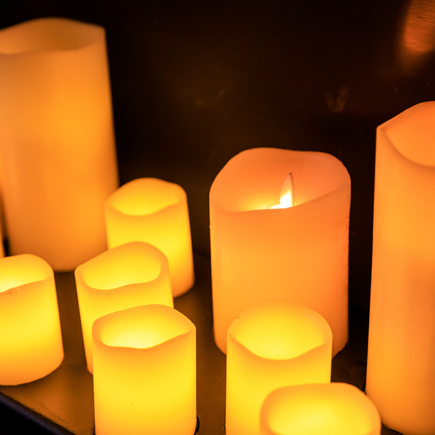 Candles hard-wired to lighting controls