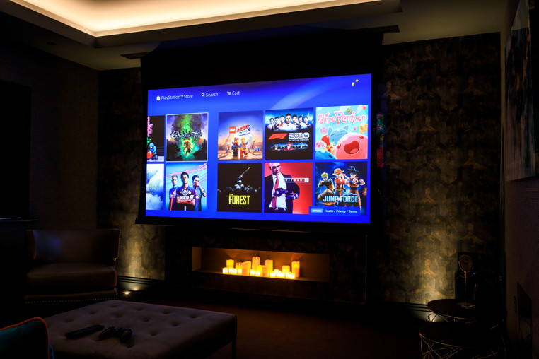 Perfect drop down projector screen for movie night