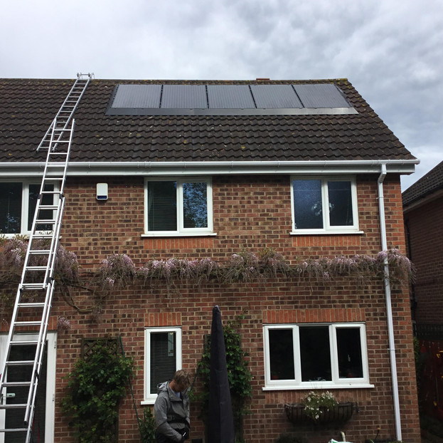 Solar panel pigeon proofing - SolaSkirt install in progress