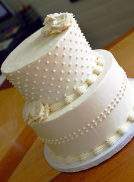 White Dot Wedding Cake