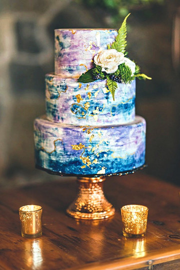 Color-Splash and Gold Leaf Cake