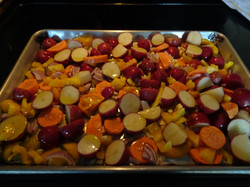 Bake these veggies for the family, add flavor at the tail end and broil for crispiness. .