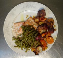 Marinade the salmon, steam the asparagus, broil the veggies. ADD THE FLAVOR!