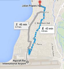 Walking from the Ngurah Rai Airport to Kuta downtown