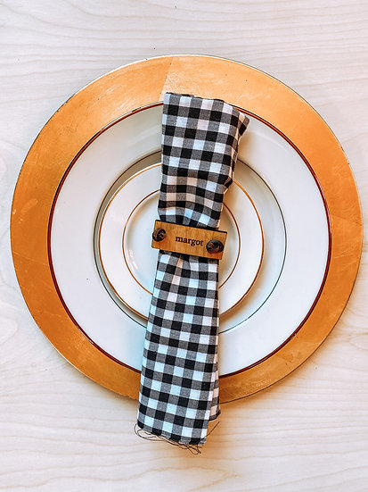 Rectangular Napkin Holders with Rawhide Tie