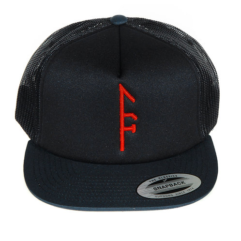 Black Mesh SnapBack...Red Vector