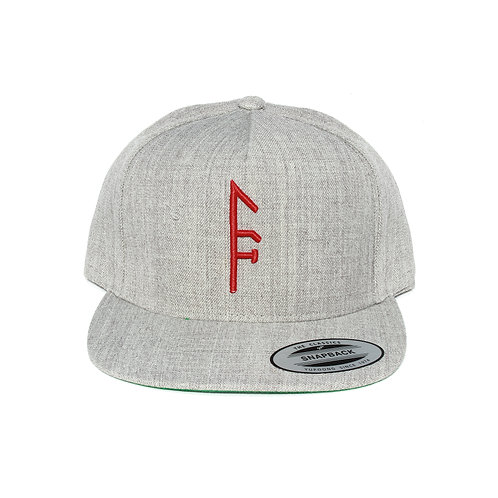 Gray Vector Up Snapback..red logo