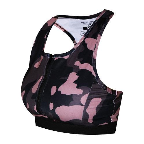 Pink Camo Zip-Front Bra