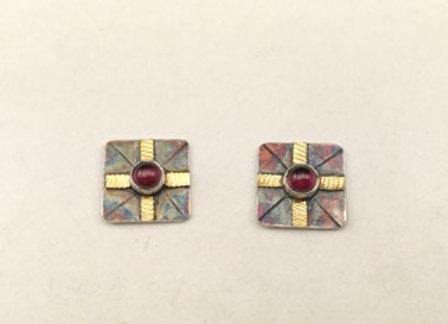 Garnet post earrings