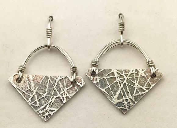 Geo silver basket earrings