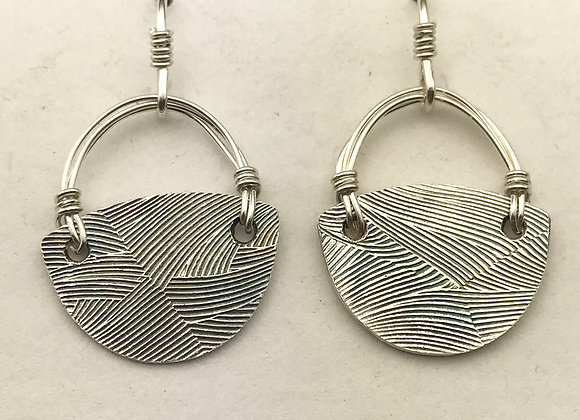Half round textured silver earrings