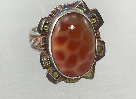 Oval Snakeskin Agate Ring