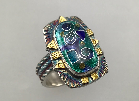 Blue/Green Cloisonné Ring