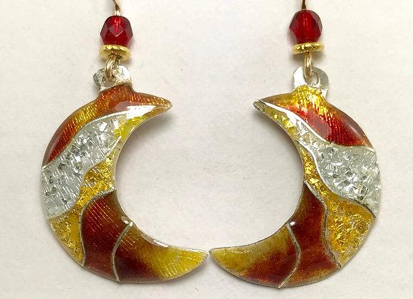 Cloisonne enamel red moon earrings