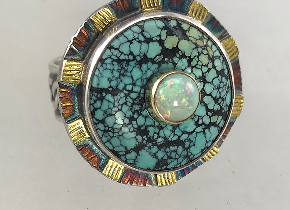 Turquoise and Opal Ring