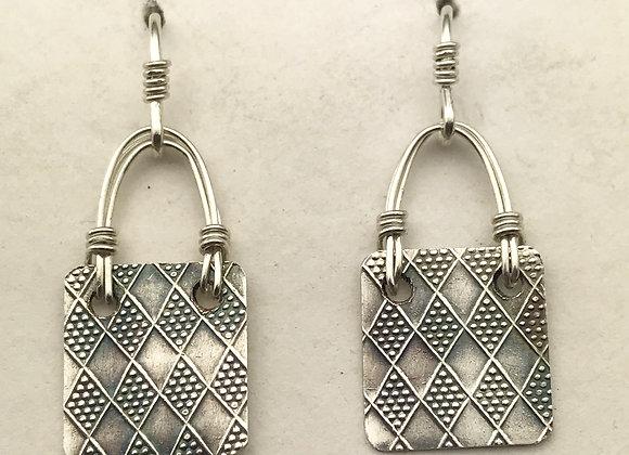 Harlequin pattern silver earrings