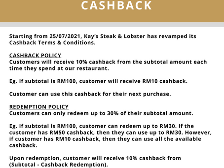 Cashback Terms & Conditions