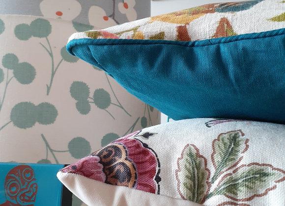 Floral & velvet cushion