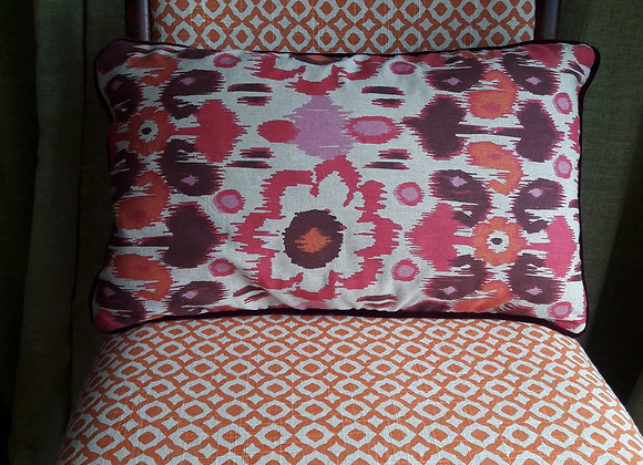 Velvet and pink/orange linen cushion