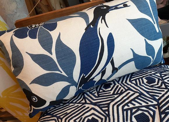Koi Carp & Egret Cushion & Blue velvet