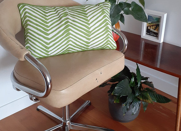 Apple Green zigzag linen piped cushion with feather inner
