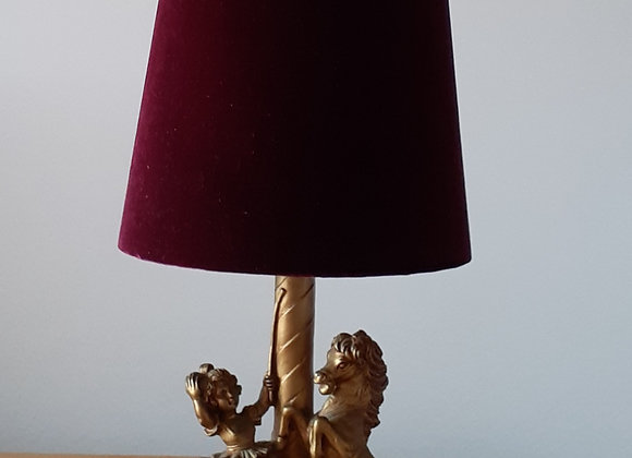 Rare vintage lampbase with new velvet shade