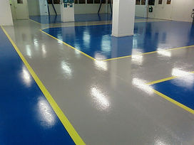 saftey lines epoxy blue epoxy floor grey isles