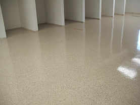 epoxy flake flooring tan color