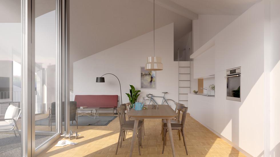 Grosse Balkone und zusätzliche Gaden in den Dachwohnungen