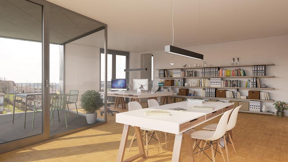 Ob Atelier, Büro oder Praxis; im 1. OG stehen voll ausgebaute Räumlichkeiten bereit