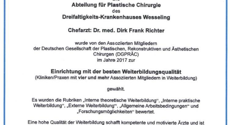 Beste Weiterbildungsstätte Deutschlands 2017