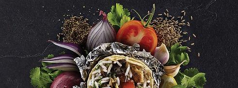 Burrito with fresh ingredients