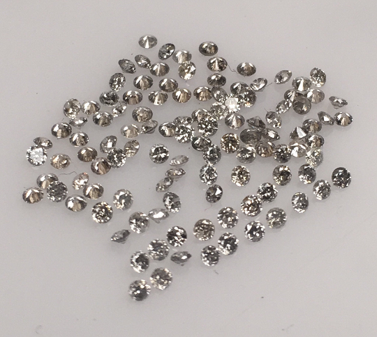 1.25 MM To 1.30 MM Natural Salt & Pepper Round Brilliant cut Diamond 55Pcs