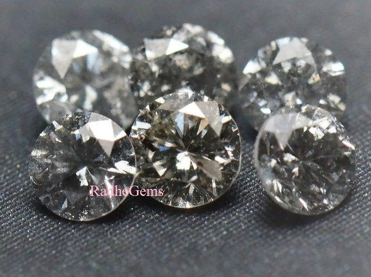 4 mm Natural Loose Round Brilliant cut Salt and pepper diamond 1Pcs