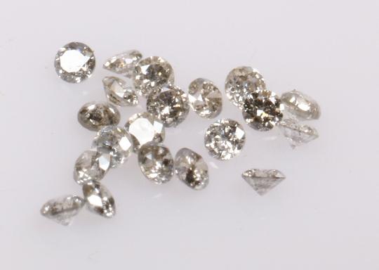 1.25 mm Salt and Pepper Round Brilliant cut Diamond