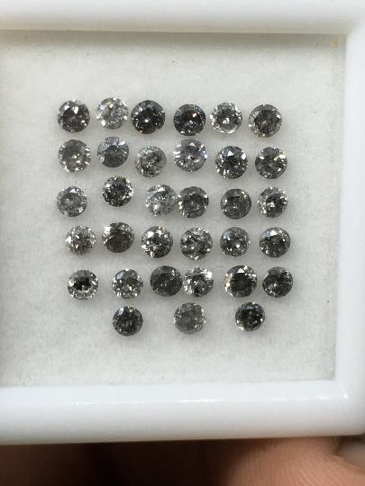 2.0 mm 30 pcs Salt and Pepper Round Brilliant cut Diamond