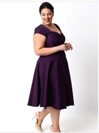 Plus Size Vintage Dress Cap Sleeve Sweetheart Skater Dress