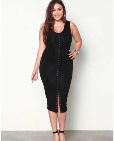 Black Plus Size Dress U Neck Sleeveless Split Knit Bodycon Dress For