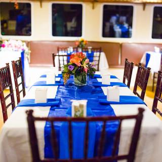 blue wedding reception cloth boat
