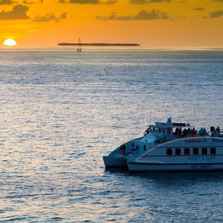 sunset wedding boat reception