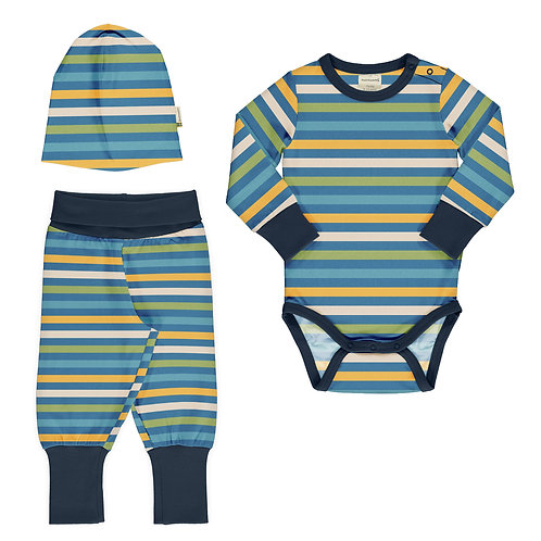 SET BEBÉ - MAXOMORRA - STRIPE OCEAN BODYPANTS