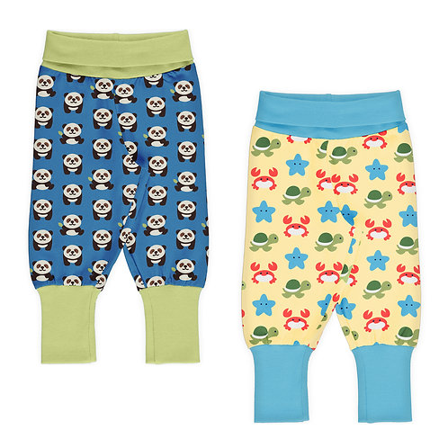 SET BEBÉ 2 PANTS - MAXOMORRA - BEACH BUDIES BLUE PANDA