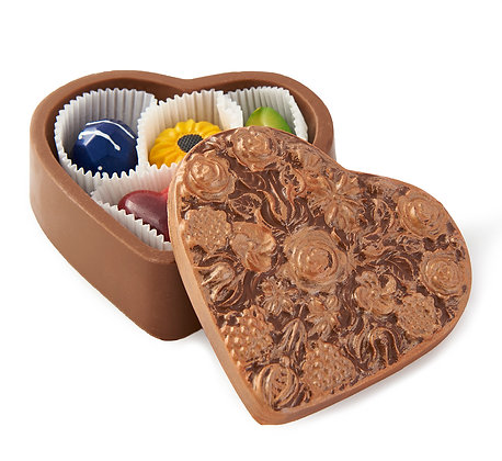 Handcrafted Chocolate Heart Box Filled With Chocolate Bonbons