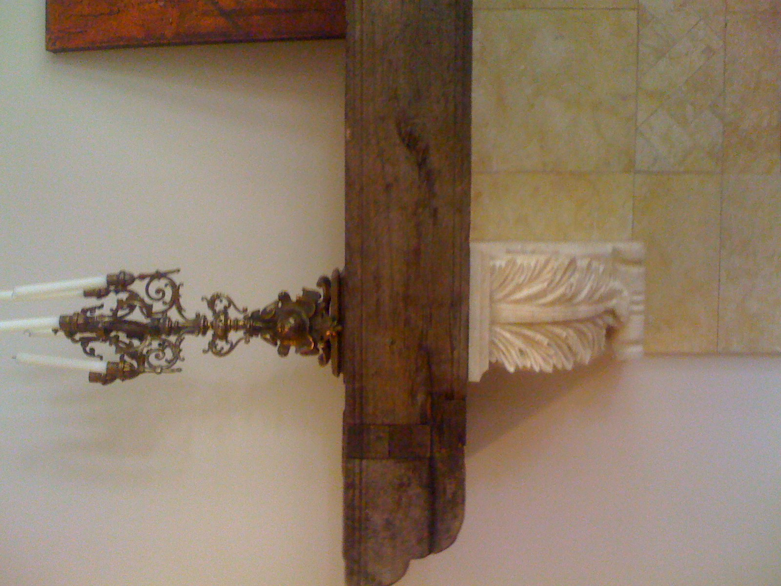 Antique Beam and Hand Carved Limestone F